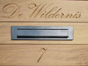 Houten open Engelse poort / inrijpoort met gravering - Farm Poorten
